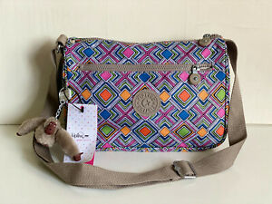 NEW-KIPLING-CALLIE-GEOMETRIC-EMBER-CROSSBODY-SLING-BAG-PURSE-89-SALE