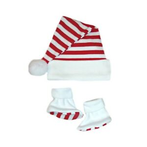 0d09e307e Red White Striped Baby Santa Hat Booties - 6 Preemie, Newborn to 6 ...
