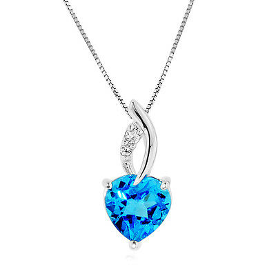 2.30 Carat Blue & White Topaz Pendant in Sterling Silver with Chain