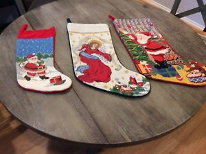 Embroidered Christmas Stockings.Details About Lot Of 3 Embroidered Christmas Stockings Angel Santa Claus