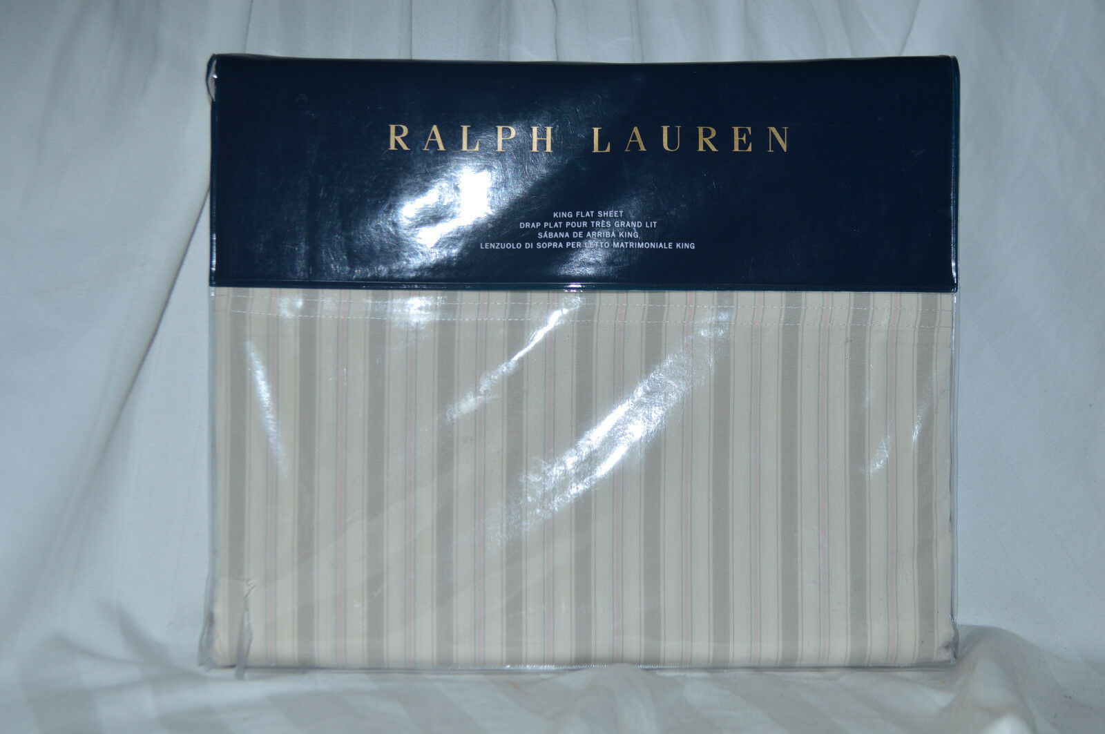 Ralph Lauren Francoise MultiColoreee King Flat Sheet NIP