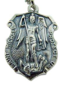 Patron-Saint-Michael-1-1-4-034-Badge-Shape-Silver-Tone-Medal-w-24-034-Chain-Necklace