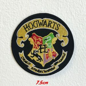 Harry Potter Hogwarts Yellow on Black Round Embroidered Iron Sew on Patch #1584
