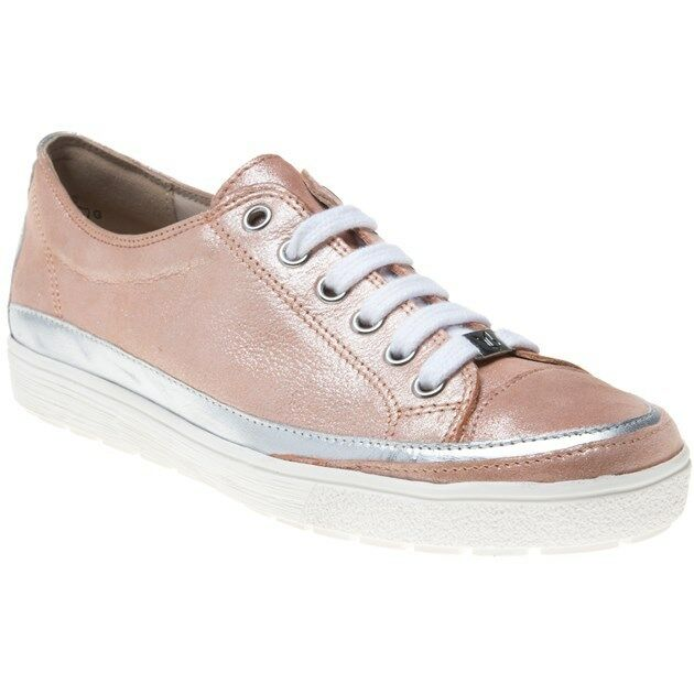New Damenschuhe Caprice Pink Metallic 23654 Leder Trainers Flats Lace Up