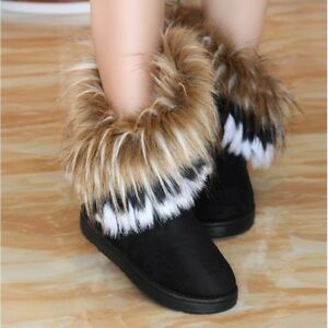 Hot-Women-039-s-Winter-Faux-Fur-Furry-Ankle-Boots-Snow-Warm-Pull-On-Flat-Shoes-A594