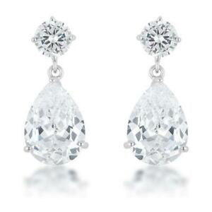 Stunning-Chandelier-Pear-Round-CZ-Bridal-Cocktail-Dangle-Drop-Post-Earrings