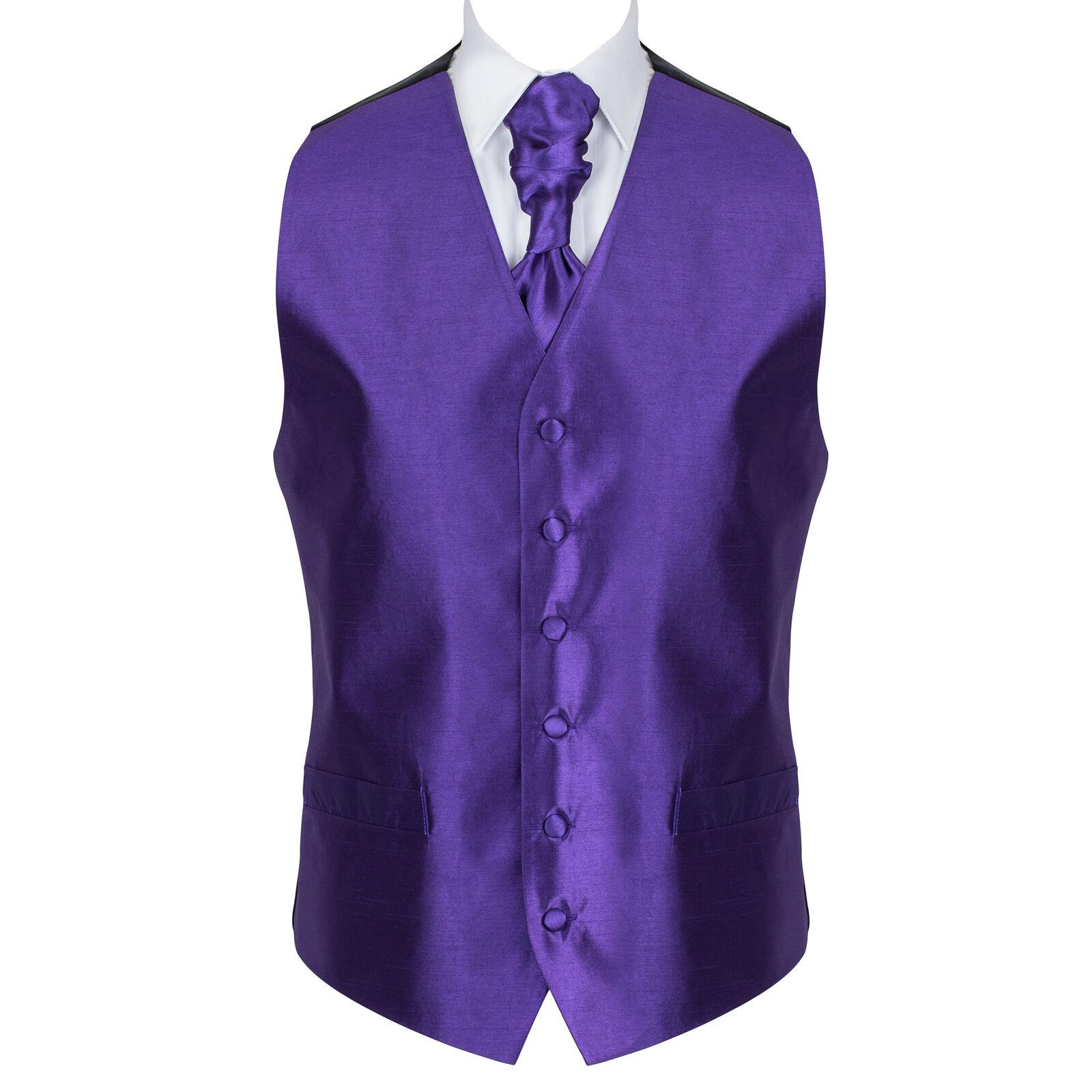 UK Men's Plum Purple Wedding Waistcoat Plain 6 Button Jacquard Suit Vest Tailore