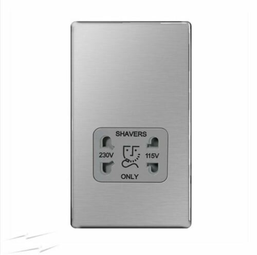 BG FBS20G en acier brossé Double Voltage Shaver Socket 115//230V Screwless Flatplate