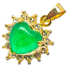 Chinese Emerald Green Jade Jadeite 24K Yellow Gold Plated Heart CZ Pendant #025