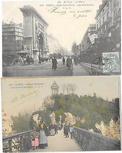 Carte Buttes Chaumont.Paris 75 Ensemble De Deux Cartes Buttes Chaumont Porte Saint Denis
