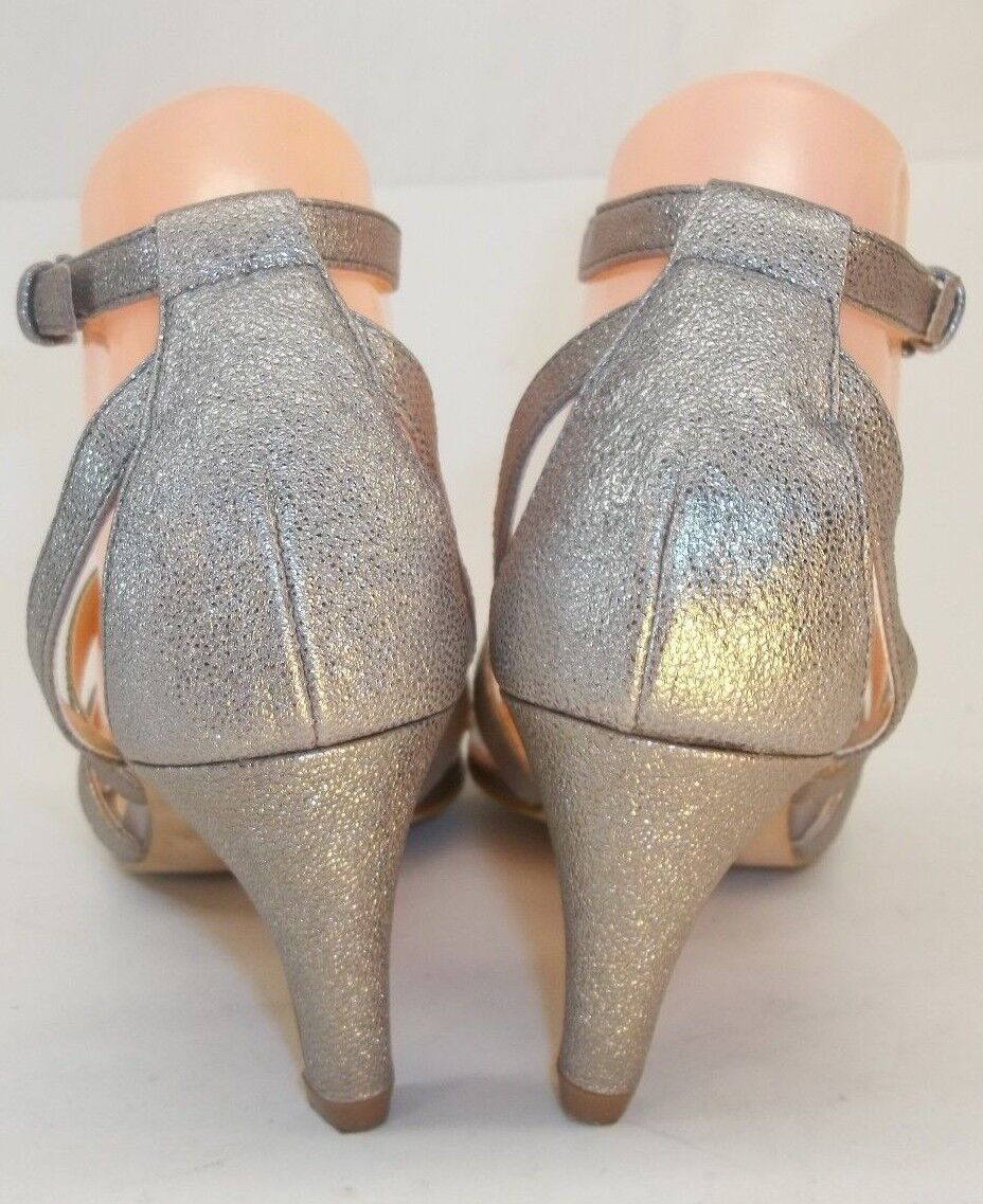 AnthropoIogie sola Damenschuhe Metallic Heels Sandales US7 M Metallic Damenschuhe Jeweled Ankle Strap Dress 11dd90