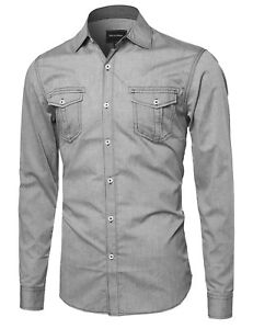 Image is loading FashionOutfit-Men-039-s-Everyday-Basic-Cotton-Chambray- 37ef792cb