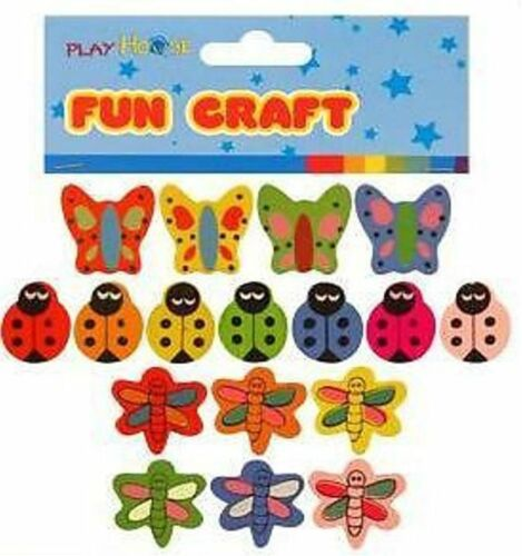 NEW 51 COLOURFUL INSECT SHAPE WOODEN BEADS LADYBIRD BUTTERFLY DRAGONFLY 3pks HB