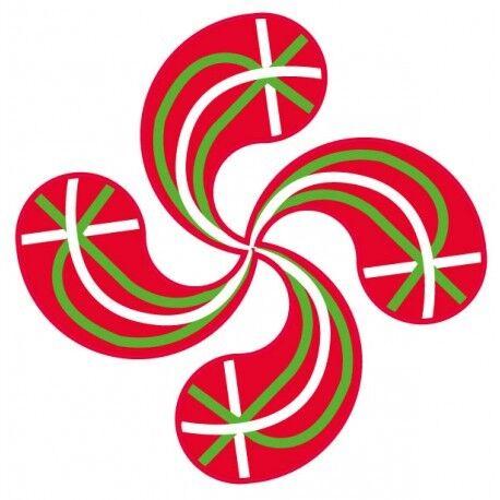 Autocollant Croix Basque Lauburu drapeau sticker adhésif 4 cm