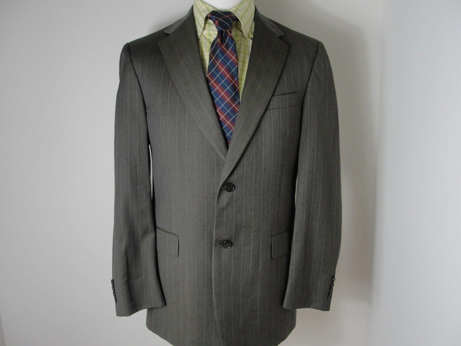 Hart Schaffner Marx Dark Olive Grün Stripe 2 Btn Wool 2 Pc suit Sz- 42L W36