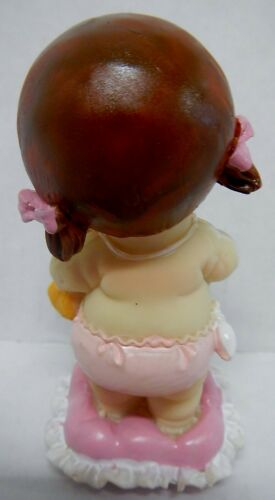 Collectible Figurine 10479 BABY GIRL Standing on Pillow /& Bear Gift Shower Cake