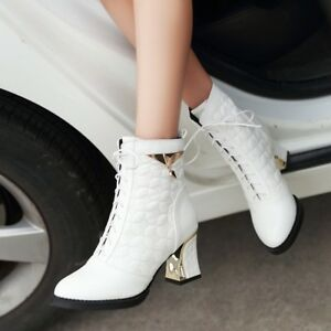 Womens-High-Block-heels-Round-toe-PU-Leather-Lace-Up-High-TOp-Martin-Ankle-Boots