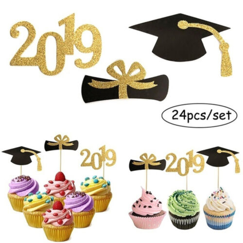 24PCS x Glitter Cupcake Toppers Mini Cake Decor for Graduation Party Supplies~