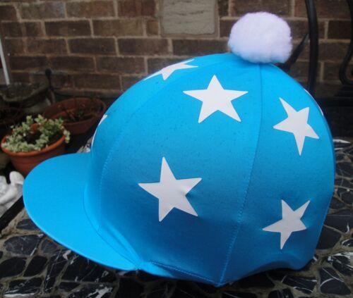 Lycra en soie Chapeau Crâne Cap couverture turquoise double étoiles blanches withor avec opompom