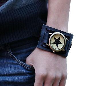 Retro-Punk-Rock-braun-breites-LEDER-BAND-ARMBAND-Manschette-Fashion-Maenner-Casual-Watch