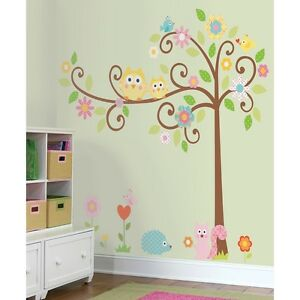 SCROLL-TREE-WALL-DECALS-Giant-Baby-Nursery-Stickers-Owls-Floral-Bedroom-Decor