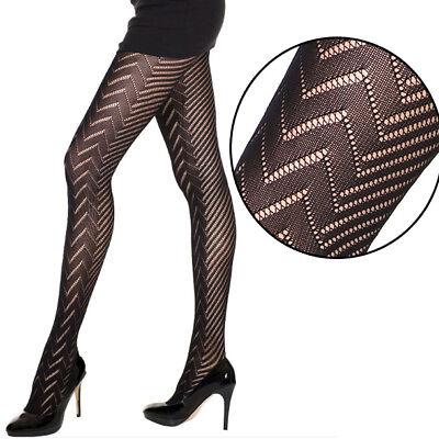 Women/'s Black Striped Fishnet Diamond Net Sheer Striped Pantyhose Stockings OS