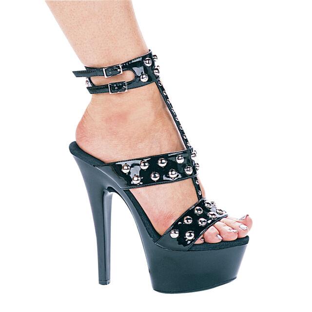 Ellie 601-Queen 6 inch heel strappy platform sandals black patent silver  rivets