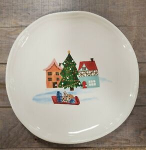 BRAND-NEW-4-Christmas-Village-by-Tabletop-Salad-Plates-Holiday-Home-Decor