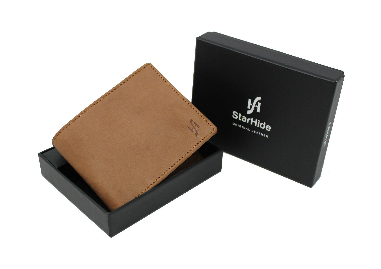 Mens Soft Brown Leather RFID Blocking Bifold Wallet