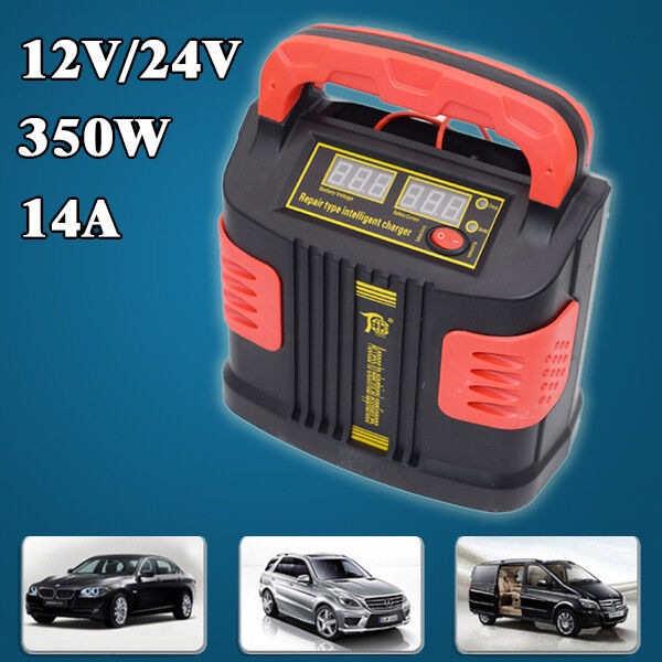 350W 14A Auto Plus Adjust LCD Battery Charger 12V-24V Jump Starter Booster Great