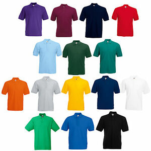 ee6969cc2 3 FRUIT OF THE LOOM PLAIN POLO SHIRTS 14 COLS ALL SIZES | eBay