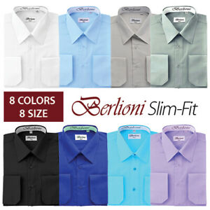 Berlioni-Italy-Men-039-s-Slim-fit-Convertible-Cuff-Solid-Italian-French-Dress-Shirt