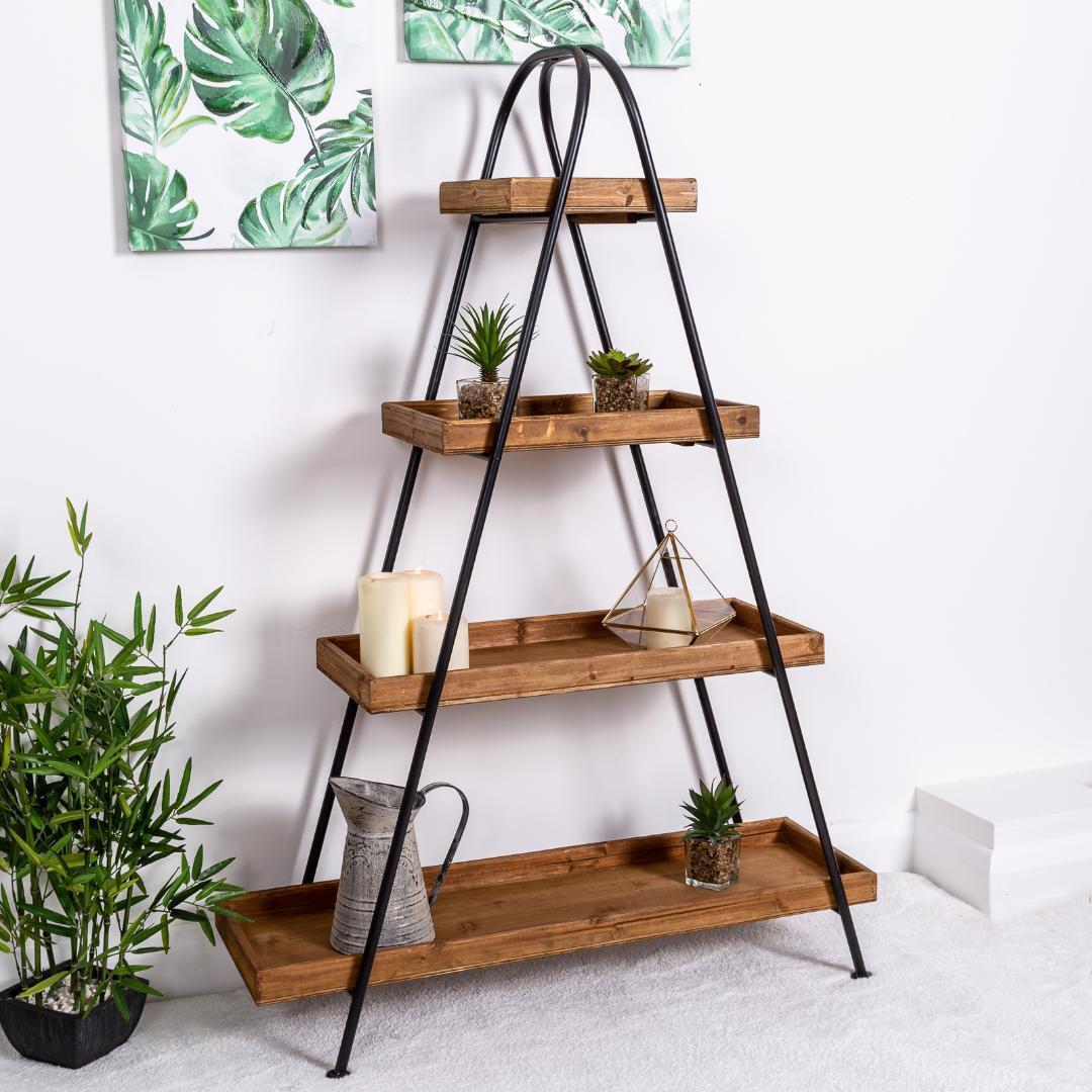 Details About Large Wooden Shelf Ladder Black Metal Storage Shelves Hallway