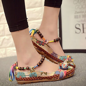 Women-Retro-Ethnic-Flats-Round-Toe-Shoes-Lace-Up-Beading-Colorful-Loafers-Shoes