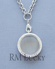"Glass Crystal Floating charm Locket Silver necklace 30mm. Rolo chain 20"" O Ring"
