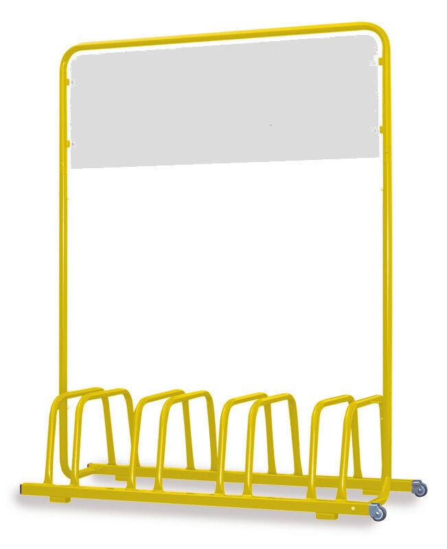 4er Fahrradständer mit Werbe-Schild & & Werbe-Schild Rollen - gelb - 233ba5