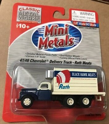 Ho Scale black Hawk Meat Complete In Specifications Classic Metal Works Mini Metals 41/46 Chevy Delivery Truck Rath Model Railroads & Trains