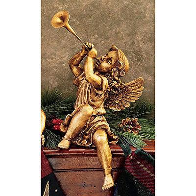 Baroque GIRL w TRUMPET CHERUB STATUE Italian Gold Look Angel Sculpture Gift Horn