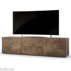 Dettagli su Mobile porta tv moderno Pepsy colore acciaio antico, soggiorno  design corten