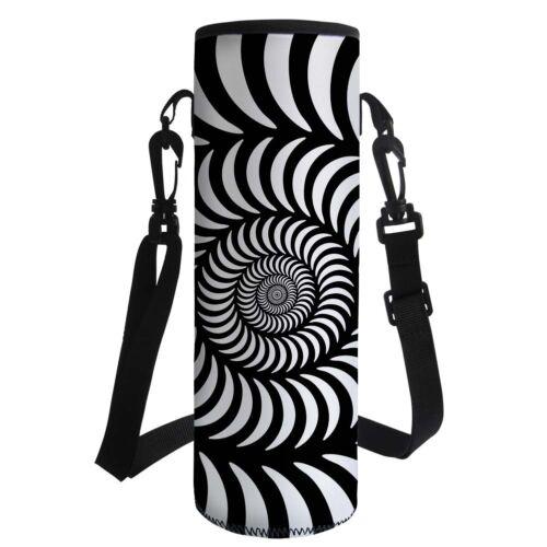 3D Water Bottle Carrier Bag Pouch Cover Holder Black/&white Neoprene Glass Case