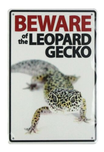 beautiful room decoration Beware of leopard gecko tin metal sign