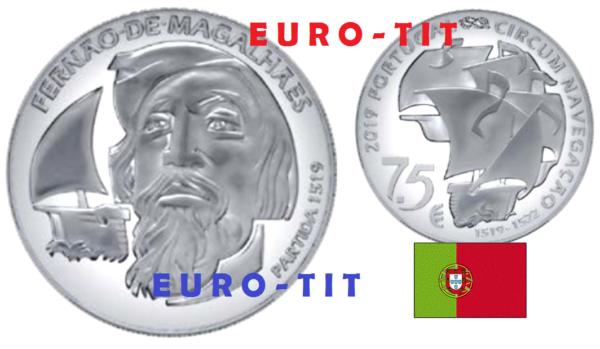 7,50 Euro Portugal 2019 Magellan Argent Nouveau 2019 Disponible