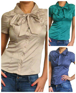 341d1cd8d3 Ladies Pussy Bow Blouse Short Sleeve Shirt Size 10 12 14 16 18 20