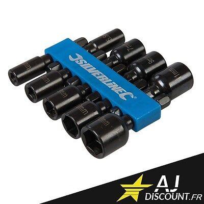 Jeu de 9 douilles magnétiques pour vis 6 pans - 5, 5.5, 6, 7, 8, 9, 10, 11, 12mm
