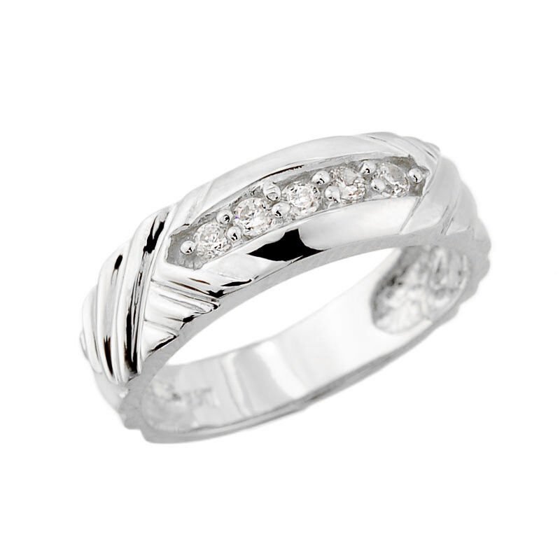 14k White gold 0.15CT Diamond Ladies 4.4MM Wedding Ring