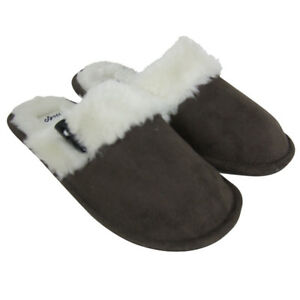 27560395a62 Details about Ladies Faux Suede Furry Mule Mules Slippers Womens Toggle  Slipper Sizes UK 3-8