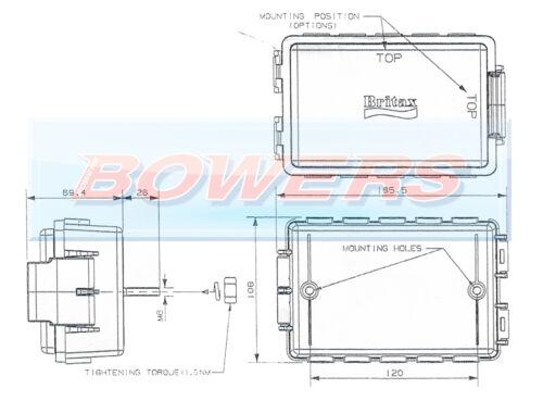 Britax E05 10 vías cableado del Impermeable Caja de conexiones P06799 Ifor Williams remolque
