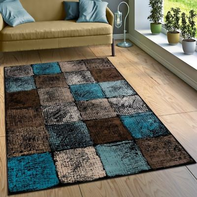 Modern Rug Checked Pattern Rugs  Living Room Soft Large Soft Mats Grey Teal Rugs