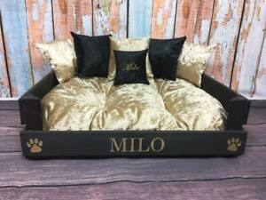 BLACK-amp-GOLD-CRUSHED-VELVET-PET-BED-Can-Be-Personalised-Dog-Cat-Beds-Size-Small