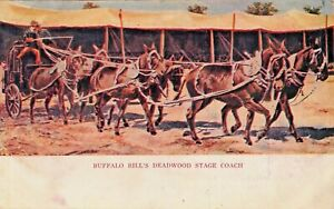 DEADWOOD-STAGE-COACH-BUFFALO-BILL-039-S-WILD-WEST-SHOW-COWBOYS-1900s-POSTCARD